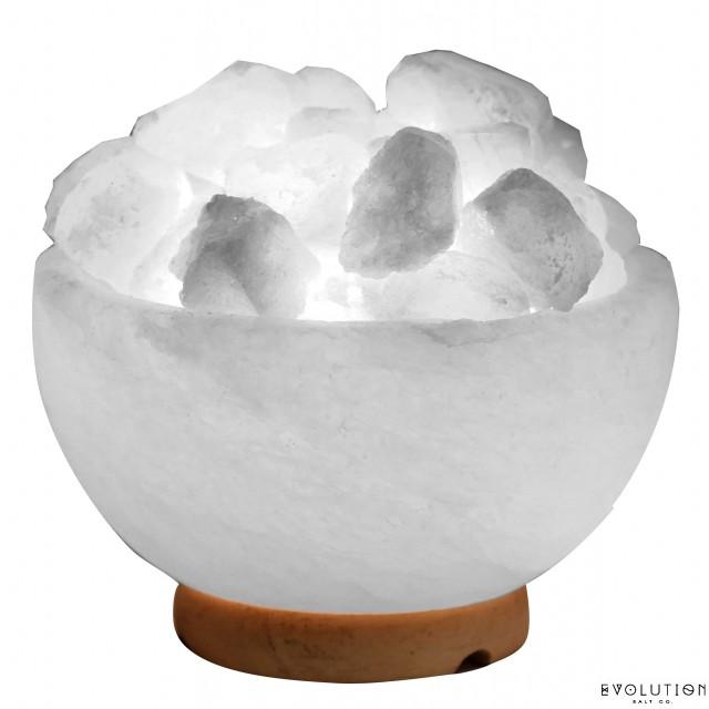 White Fire Bowl Crystal Salt Lamp