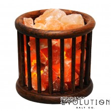 Wooden Basket Crystal Salt Lamp
