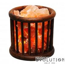 Wooden Basket Crystal Salt Lamp